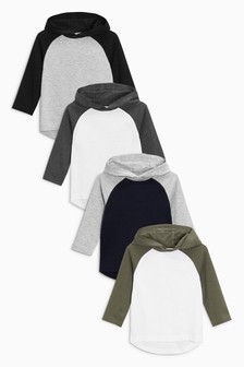 Grey/Navy/Khaki Ecru Long Sleeve Hoodies Four Pack (3mths-7yrs)