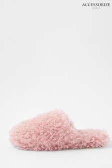Accessorize Fluffy Teddy Mule Slippers