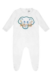Boys White Cotton Elephant Babygrow