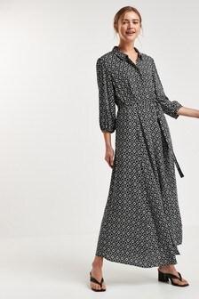 Black Geo Belted Maxi Shirt Dress