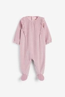 Pink Spot Velour Sleepsuit (0mths-3yrs)