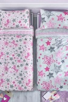 2 Pack Sequin Unicorn Duvet Cover and Pillowcase Set