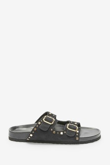 Black Studded Two Band Footbed Mules