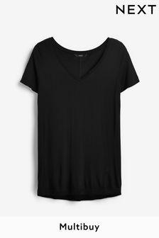 Black Womens Slouch V-Neck T-Shirt