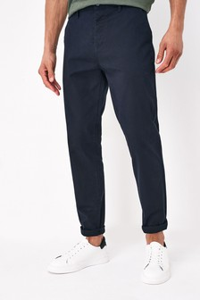 Dark Blue Straight Fit Stretch Chinos