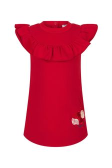 Monnalisa Baby Girls Red Cotton Dress