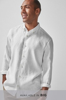 White Pure Linen Regular Fit Shirt