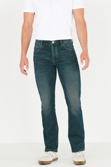 Green Wash Bootcut Fit Jeans With Stretch