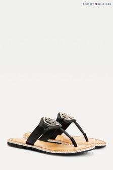 Tommy Hilfiger Black Essential Leather Flat Sandals
