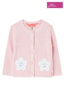 Joules Pink Southam Rib Knit Cardigan