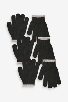 Black 3 Pack Knitted Gloves (Older)
