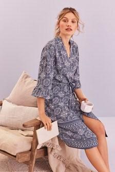 Blue Tile Print Lightweight Robe