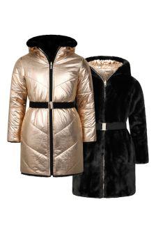 Girls Gold/Black Reversible Padded Coat