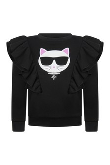 Girls Black Cotton Choupette Sweater