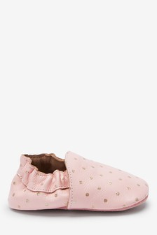 Pink Premium Leather Slip-On Pram Shoes (0-18mths)