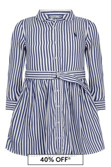 Girls Blue Striped Cotton Shirt Dress