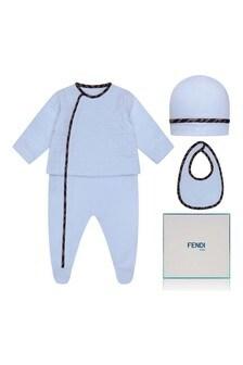 Boys Blue Cotton Logo Babygrow Gift Set