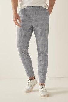Grey Elasticated Waist Slim Fit Cotton Check Chinos