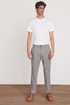 Neutral Slim Fit Check Trousers