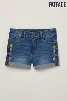 FatFace Blue Embroidered Shell Denim Shorts
