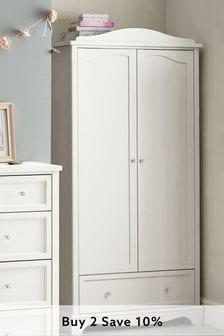 White Amelia White Double Wardrobe with Drawer