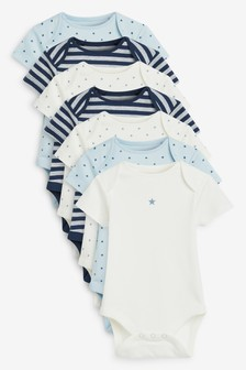 Blue 7 Pack Star Stripe Short Sleeve Bodysuits (0mths-3yrs)
