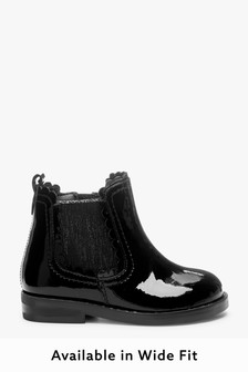 Black Patent Leather Wide Fit (G) Little Luxe™ Scallop Chelsea Boots