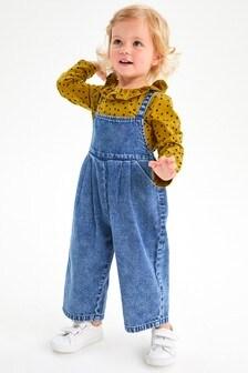 Bleach Wash Denim Playsuit And Long Sleeve T-Shirt Set (3mths-7yrs)