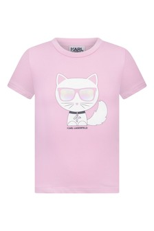 Girls Pink Choupette Print Jersey T-Shirt