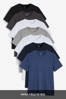 Grey Mix Regular Fit Crew Neck T-Shirts Seven Pack