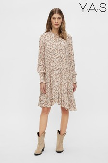 Y.A.S Beige Rolea Floral Frill Print Dress
