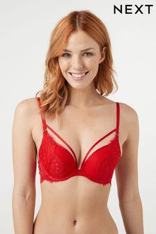 Red Cara Push Up Plunge Lace Bra
