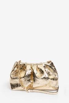 Gold Slouchy Mini Clutch Bag
