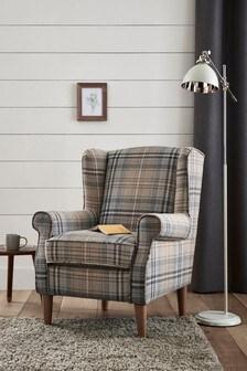 Tweedy Check Kildare Grey Sherlock II Petite Armchair With Light Legs