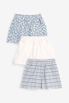 Blue/White 3 Pack Shorts (3mths-7yrs)