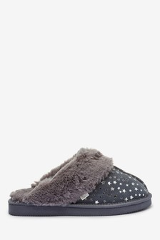 Grey Star Suede Mule Slippers