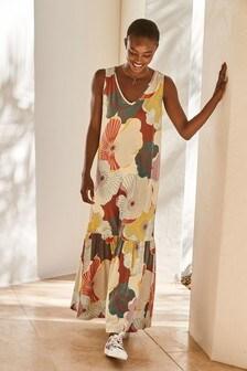 Multi Floral Print V-Neck Column Maxi Dress