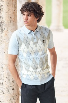 Light Blue Argyle Pattern Cotton Short Sleeve Polo