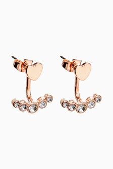 Rose Gold Tone Heart Sparkle Back To Front Stud Earrings