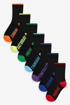 Black Days Of The Week 7 Pack Cotton Rich Socks (Older)