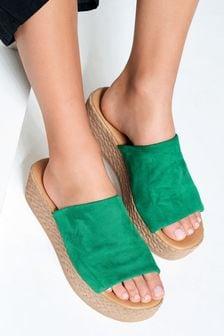 Green Mule Flatform Sandals