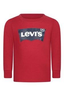Baby Boys Red Cotton Logo T-Shirt