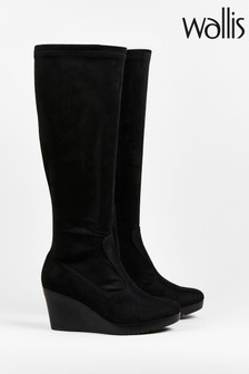 Wallis Hummingbird Black Wedge Boots