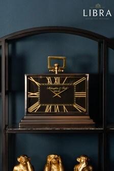 Libra Latham Medium Black And Gold Aluminium Rectangular Clock