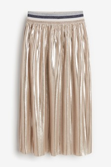 Silver Metallic Pleated Midi Skirt (3-16yrs)