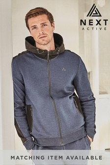 Navy Blue Zip Through Hoody Sports Jersey