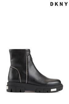 DKNY Black Leather Lizzi Chunky Ankle Boots