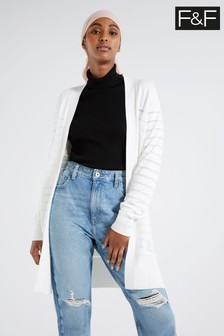 F&F White Thick And Thin Cardigan