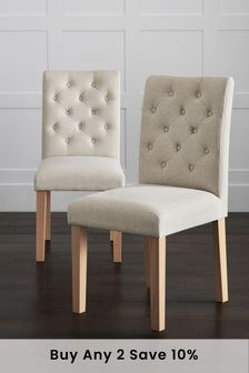 Tweedy Blend Oyster Set Of 2 Moda II Button Dining Chairs With Natural Legs