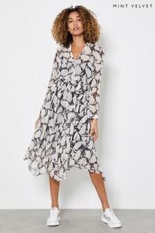 Ivory Mint Velvet Olivia Print Wrap Midi Dress